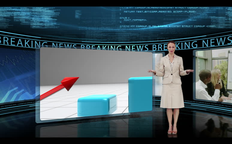 Reporter standing in a studio and reporting business news - HD stock footage clip