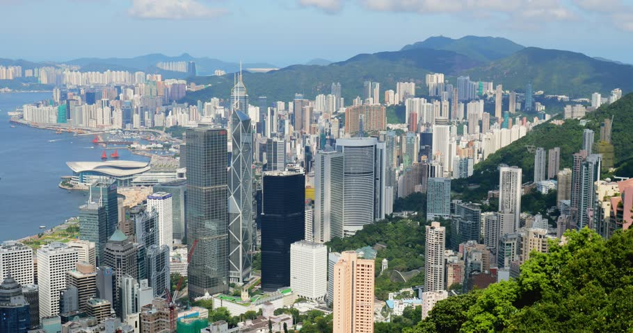 Beautiful view of Vitoria Peak Hong Kong | Shutterstock HD Video #29914183