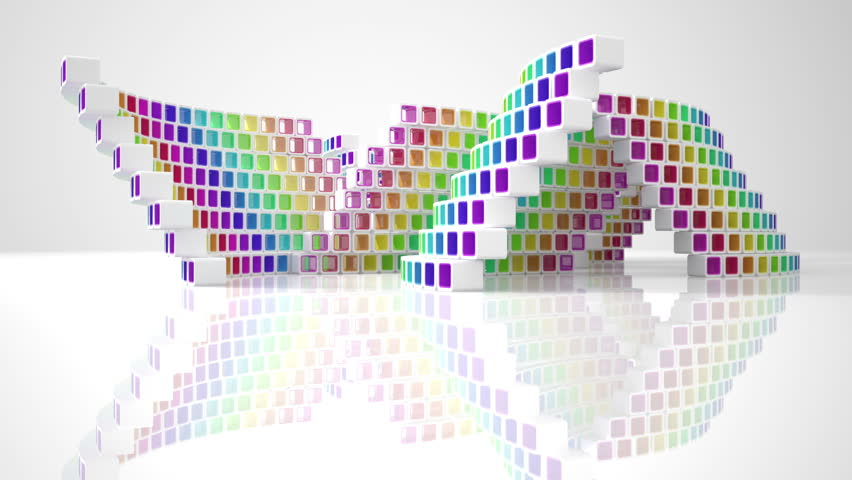 Animation conceptual modern building made of colored glass cubes  | Shutterstock HD Video #2998720