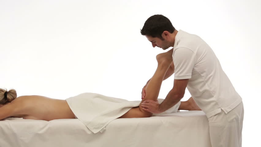 isolated leg massage, woman - HD stock footage clip