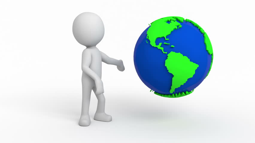 Animation Of 3d White People Global Manager Stand With ...
