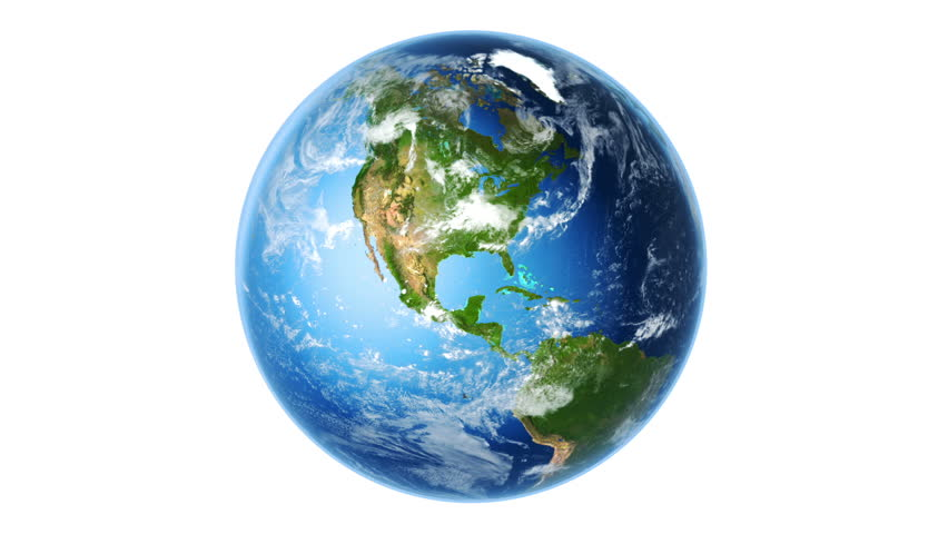 Realistic Earth Rotating on White (Loop). Globe is centered in frame, with correct rotation in seamless loop. Texture map courtesy of NASA.