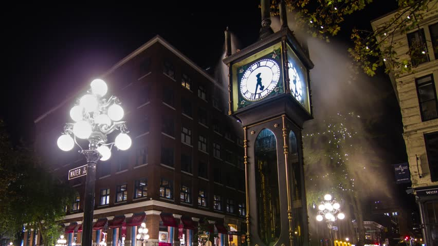 VANCOUVER - CIRCA OCTOBER 2012: Time lapse wide shot of the Stream Clock with Harbour Center in the cackground circa October 2012. One of the tourist attractions in Vancouver, Canada