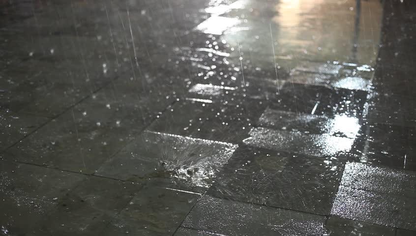 night rain - HD stock video clip
