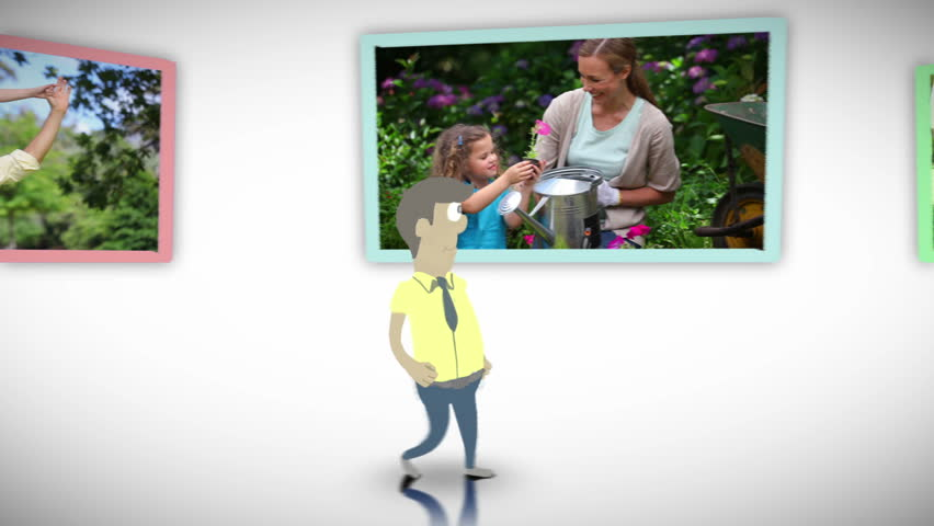 Animation of family videos in a park against a white background - HD stock video clip