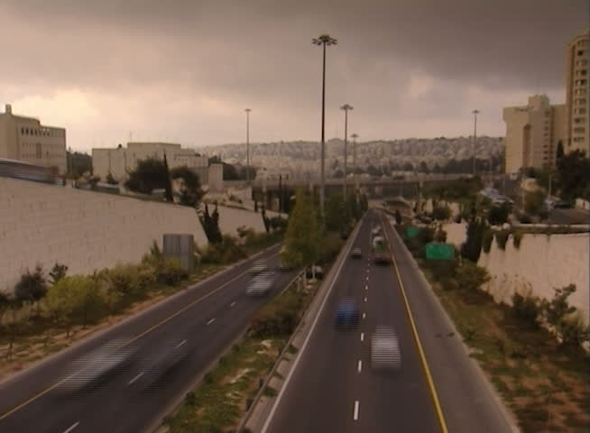 Highway day Time-Lapse. Cars passing by. Clouds. Jerusalem, israel, begin road. - SD stock footage clip