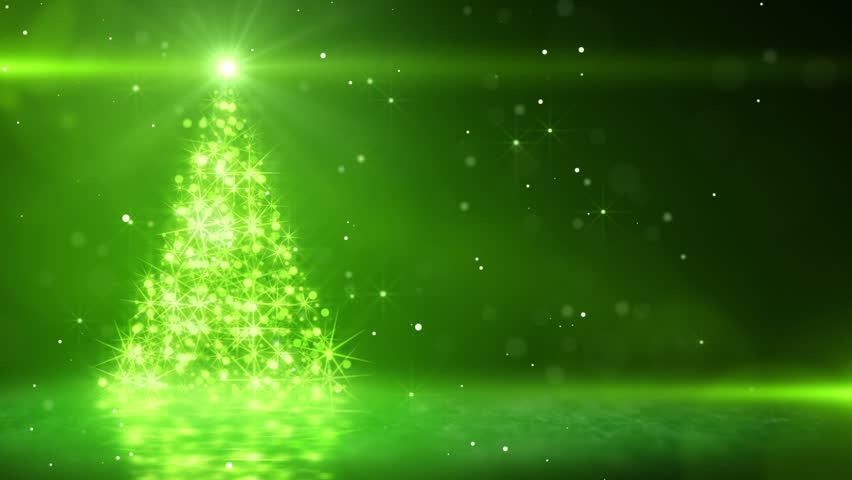 christmas tree glowing green particles. last 10 seconds are loopable