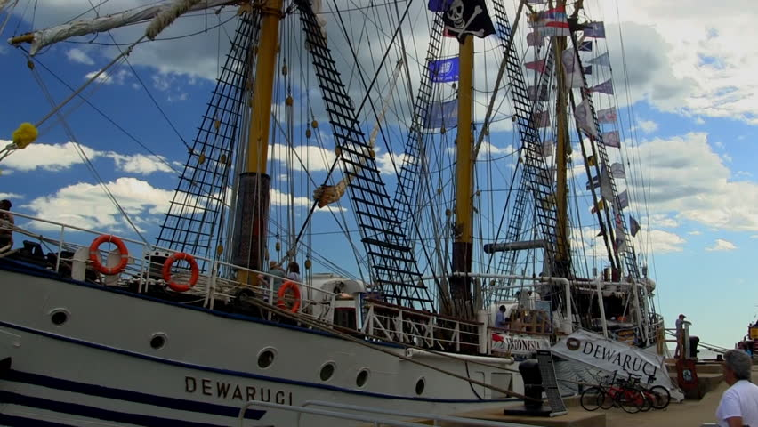 BUZZARDS BAY, CAPE COD. - JULY 26th;  Indonesian tall ship KRI Dewaruci visits Cape Cod July 26th, 2012 at Massachusetts Maritime Academy, Buzzards Bay, MA