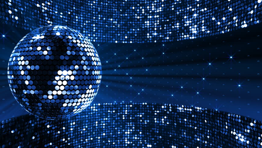 Fancy Club Light Effects In A Dark Background Stock: Mirror Ball And Ball Light. Stock Footage Video 3055708