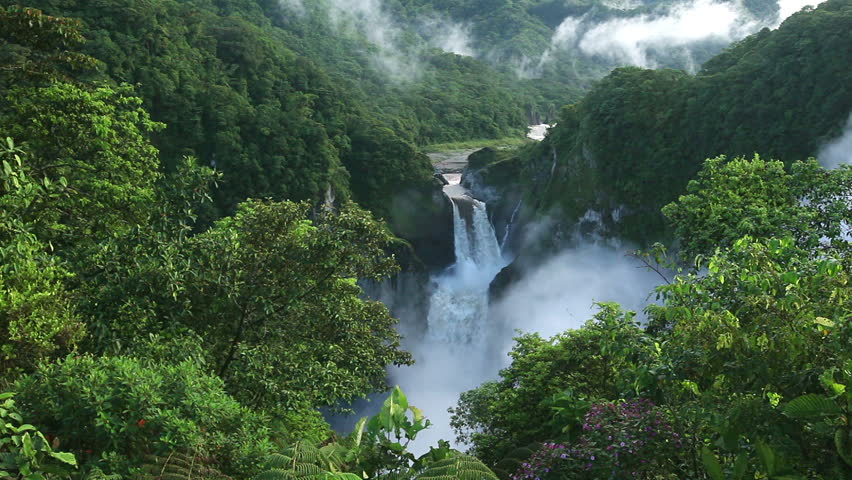 San Rafael Falls, The largest waterfall in Ecuador, high definition, includes