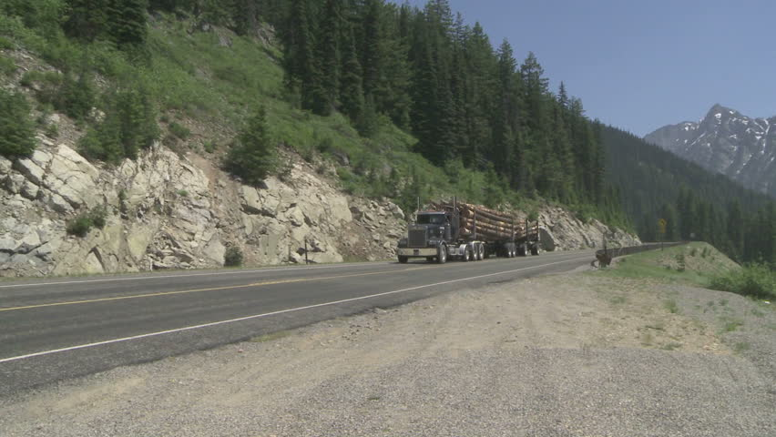 Logging truck on mountain highway