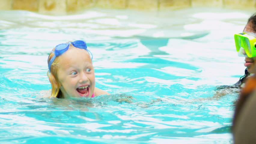 Happy Multi Ethnic Childhood Friends Swimming Pool
