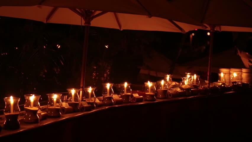 Vacation Image Of Hawaiian Tiki Torches At Sunset Stock
