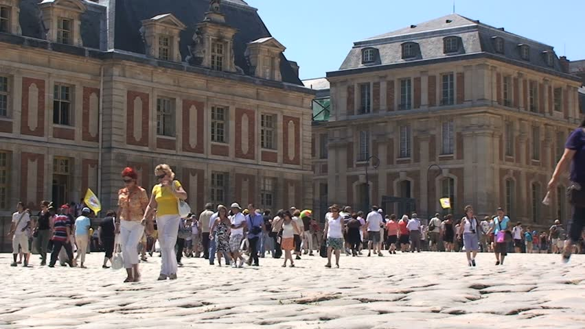 Sept. 2, 2008 - Versailles, France - Crowds of Tourists - HD stock video clip