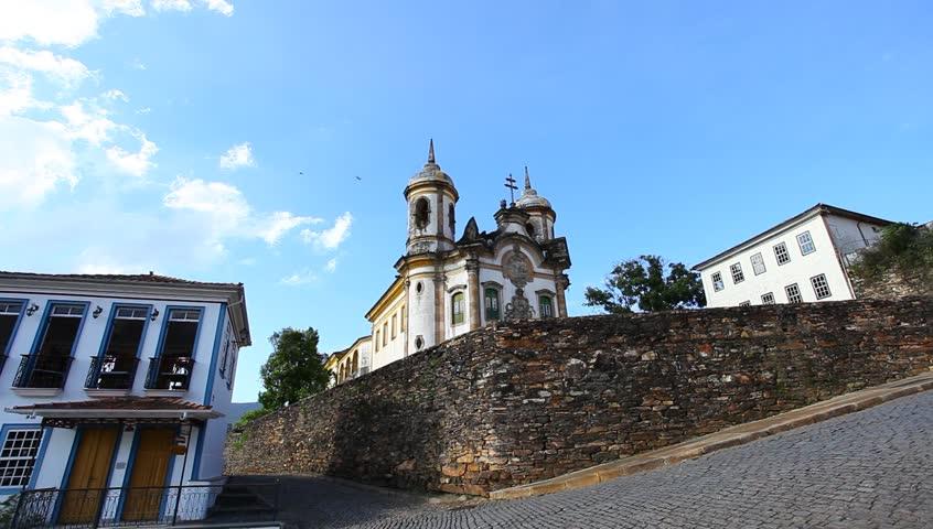 view of the Igreja de Sao Francisco de Assis of the unesco world heritage city of Ouro Preto in Minas Gerais, brazil.  - HD stock video clip