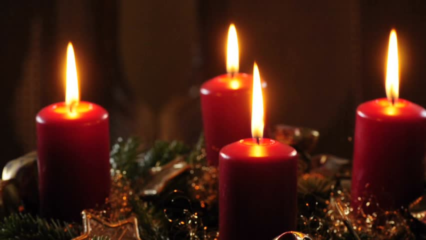 advent wreath with red candles and pine dark background. Black Bedroom Furniture Sets. Home Design Ideas