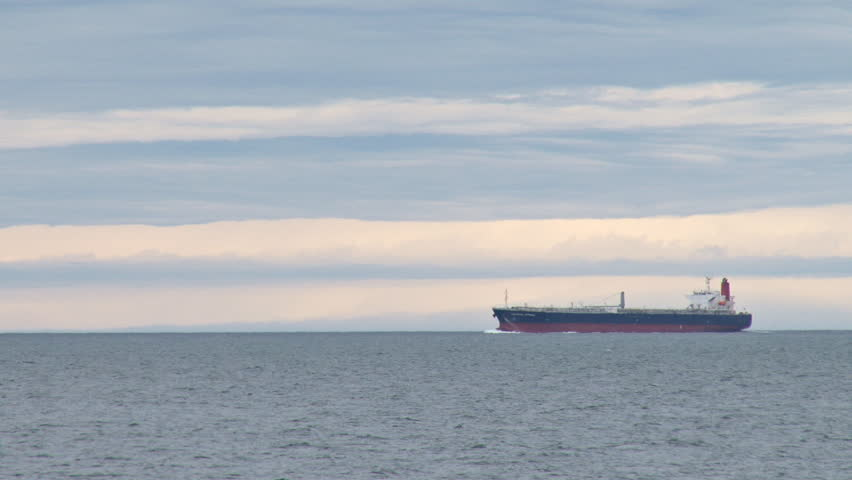 Oil tanker heading in from the inlet.