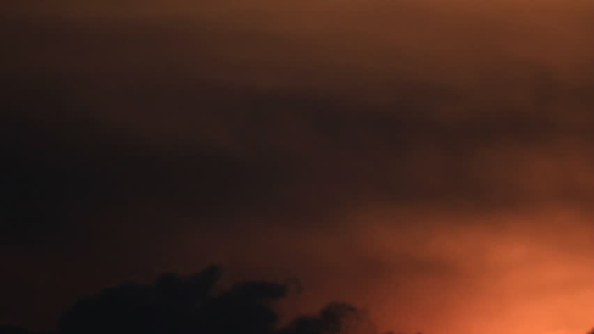 Clouds Timelapse With Real Lightning Storm At Night Stock Footage