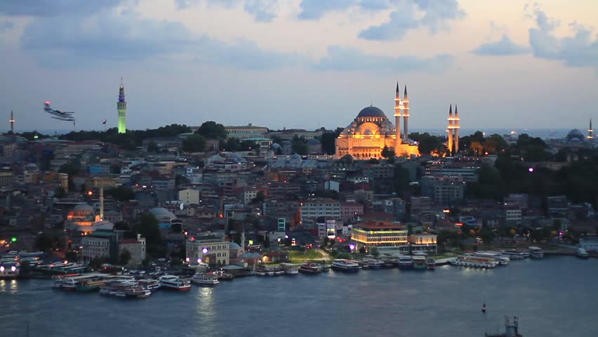 Eventide in Istanbul. View from Galata Tower to Old Istanbul. Looking over