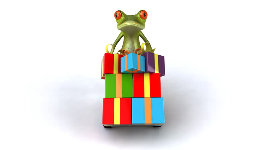Fun frog with presents  - HD stock video clip