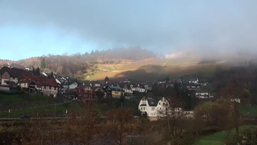 Capturing the beauty of a town built on a hill - HD stock footage clip