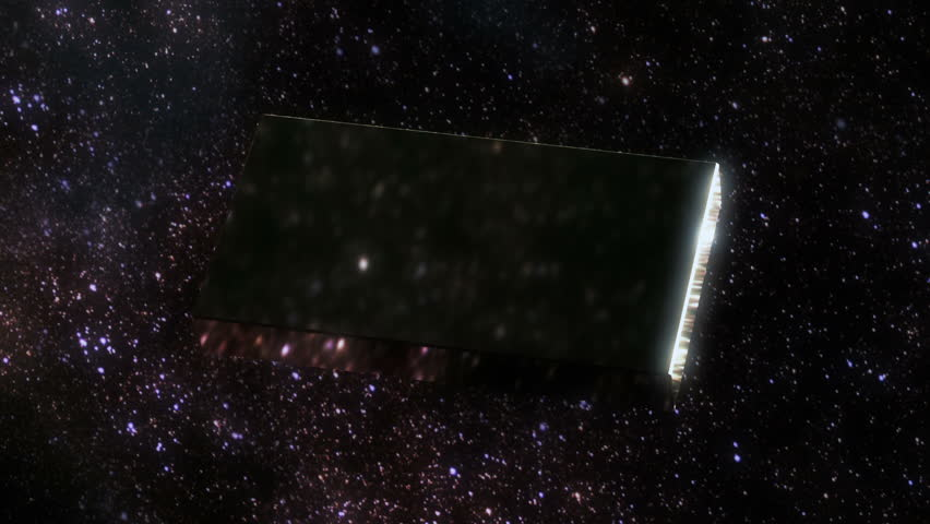 3D animation of an black monolith stone in the space
