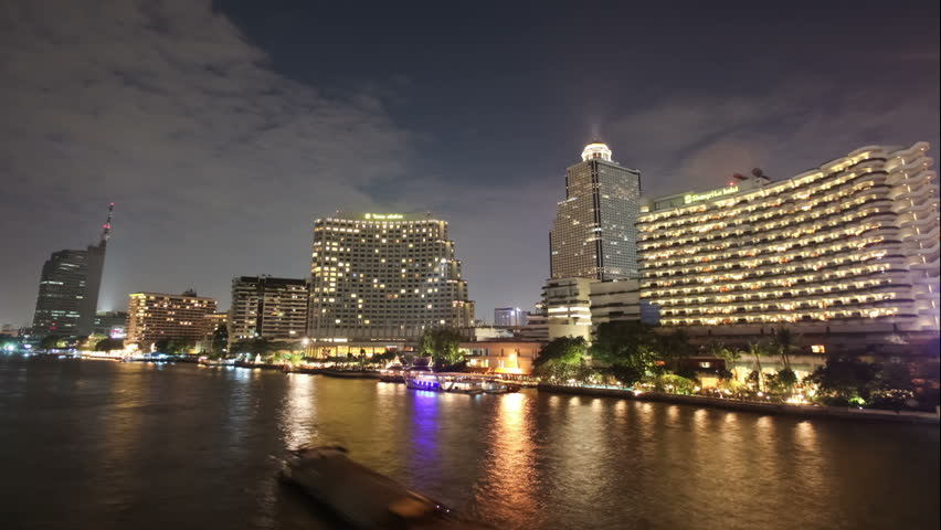 BANGKOK - JANUARY 13: Timelapse of Chao Phraya river on January 13, 2012 in Bangkok, Thailand. The river is a major transportation artery for a vast network of river buses, ferries and water taxis. - HD stock footage clip