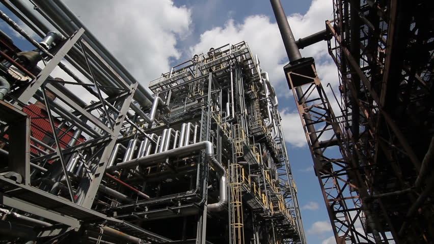 complex engineering constructions at the oil refinery - HD stock video clip