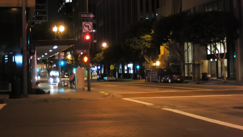 Quiet street in los angeles at night  | Shutterstock HD Video #3167632