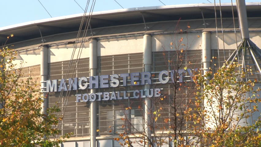 MANCHESTER, ENGLAND - CIRCA 2011: Blue sign of Manchester City Football Club on its Etihad City of Manchester Stadium.