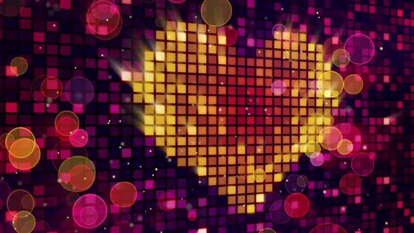 heart shape on digital screen and lights seamless loop - HD stock footage clip