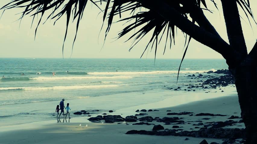 beach in morning - noosa head - HD stock footage clip