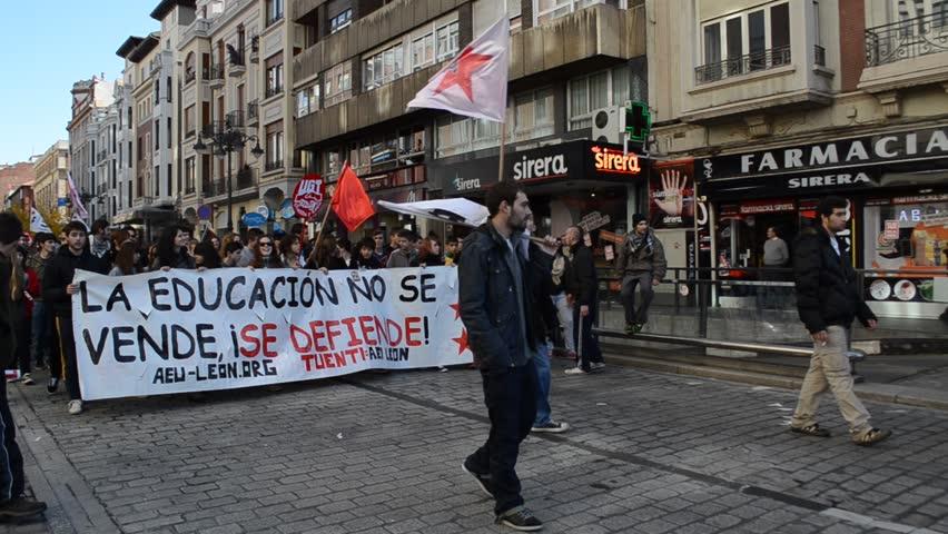 MADRID, SPAIN - CIRCA NOVEMBER 2012: Spanish students and teachers on strike,