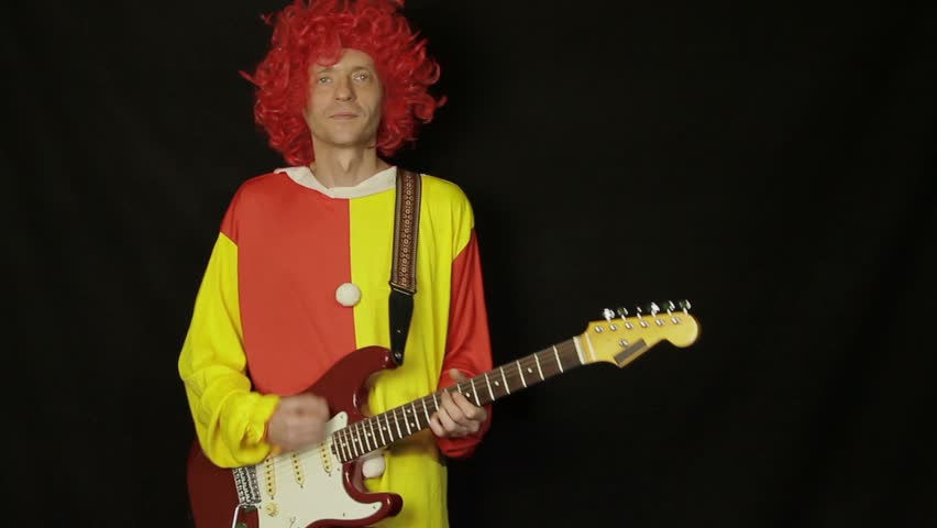 Clown with guitar  - HD stock footage clip