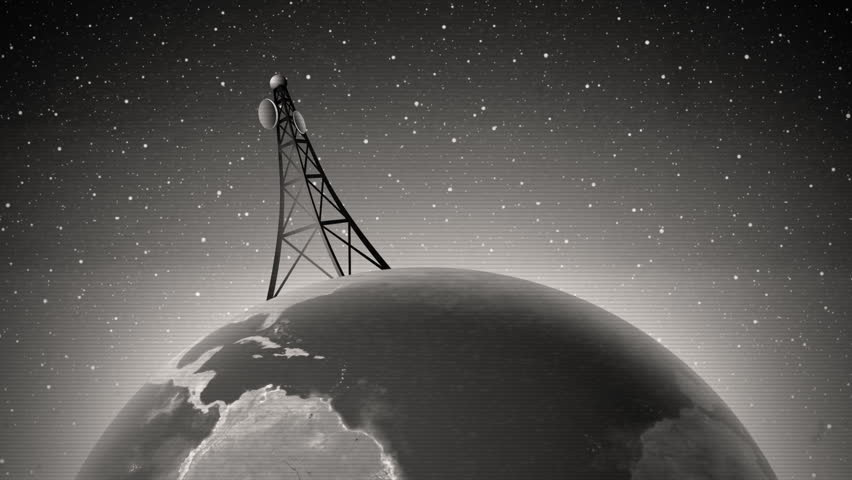 An old-fashioned graphic of an antenna transmitting a signal around the world, with audio.  - HD stock footage clip