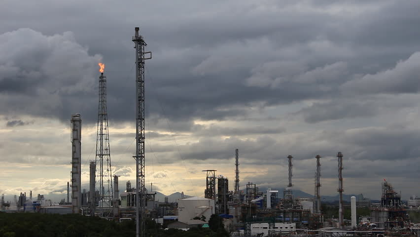 Chemical industrial with dark cloud - HD stock video clip