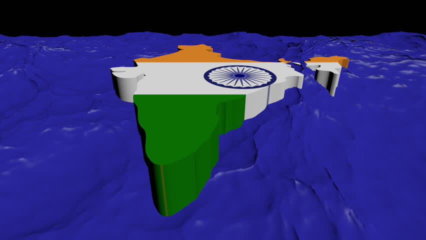 India map flag in abstract ocean animation - HD stock footage clip