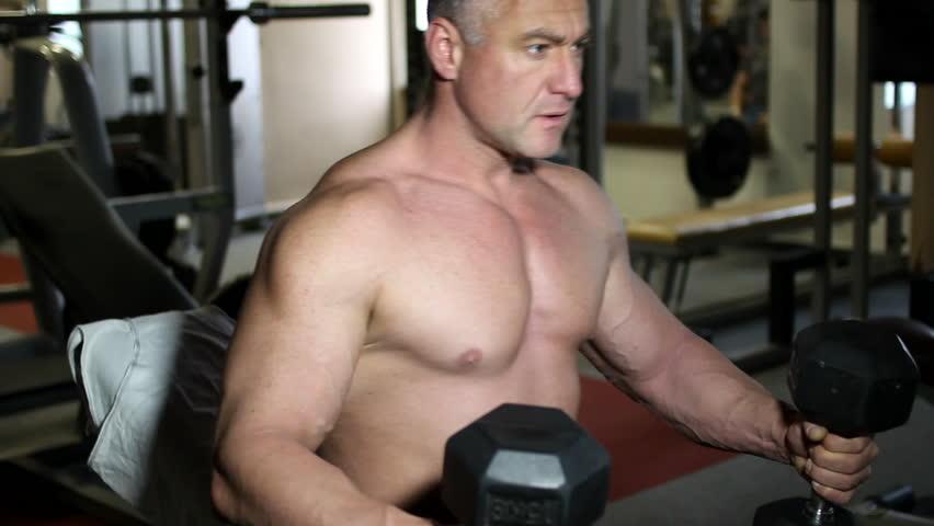 bodybuilder training - HD stock video clip
