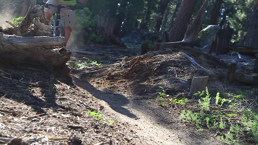 A mountain bike speeds down a trail and creates a dirt cloud  filmed at the Lake Tahoe National Park in HD