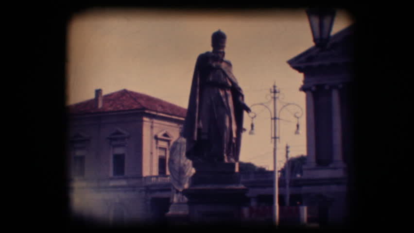 Vintage 8mm. Original footage digitalized. Statues in Padova, Italy