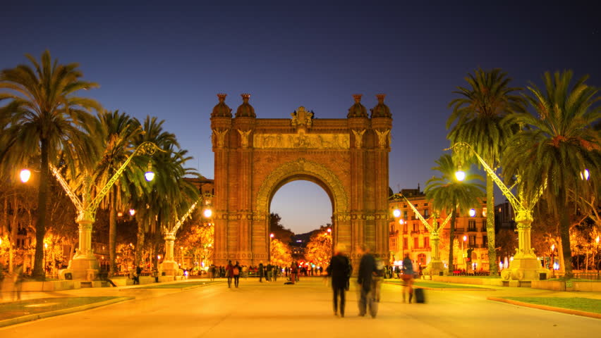 View of Arc de Triomf, illuminated at night, Barcelona, Spain
