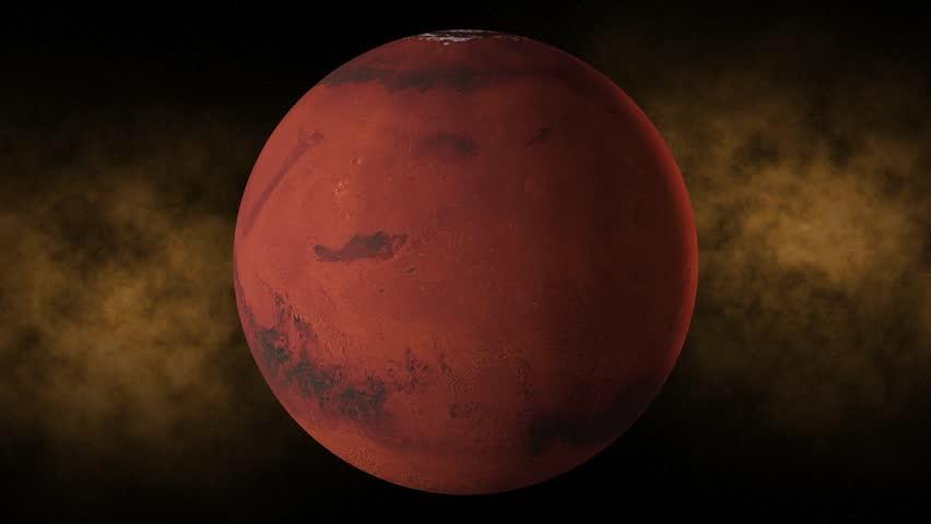 Planet mars space, stars - HD stock video clip