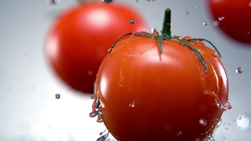 Water splash on tomato shooting with high speed camera, phantom flex.
