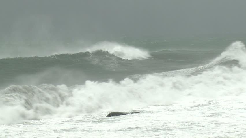 Hurricane Storm Surge Waves Crash Ashore - Shot in full HD 1920x1080 30p on Sony