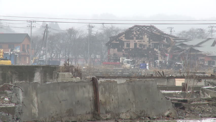 Japan Tsunami 1 Year On - Kesennuma Port Devastation. Shot in Kesennuma city in