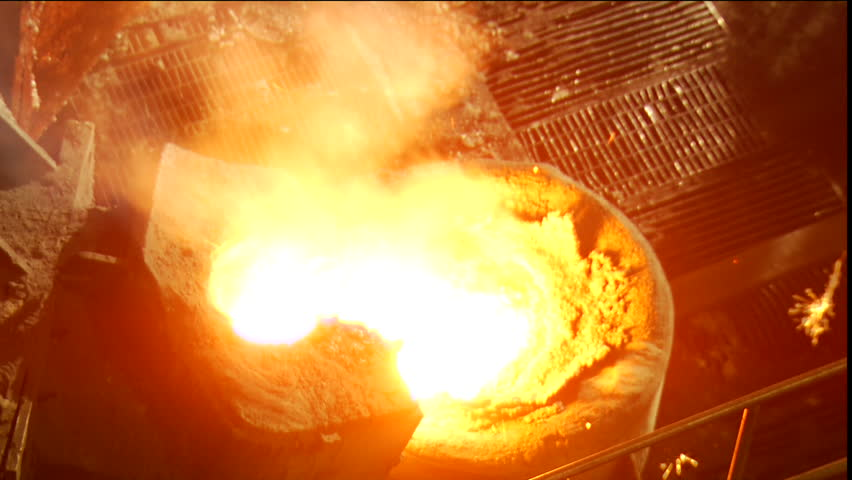 Liquid iron in metallurgy factory. Steelworks. - HD stock footage clip