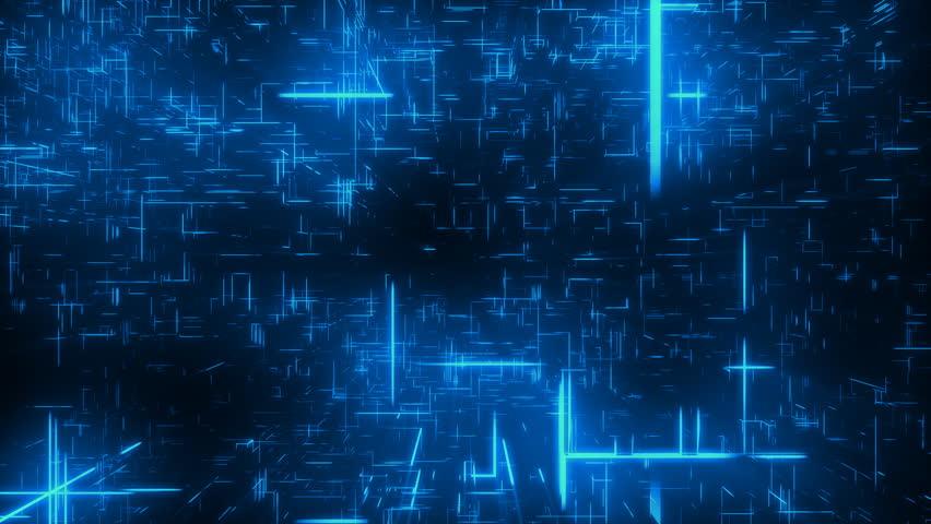 3d flight through blue line cyberspace. Perfect loop.