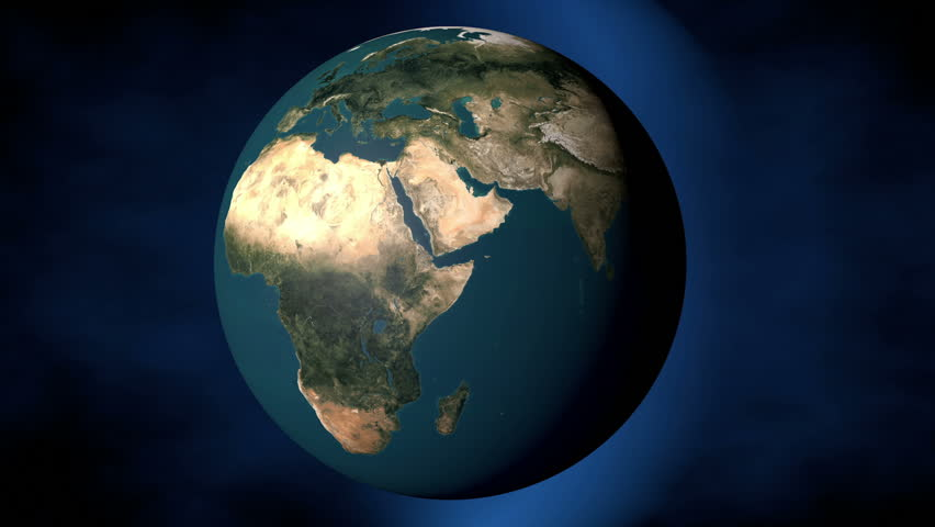 High Definition abstract CGI motion backgrounds ideal for editing, led backdrops or broadcasting featuring a view of the planet earth from space spinning in a circular motion - HD stock video clip