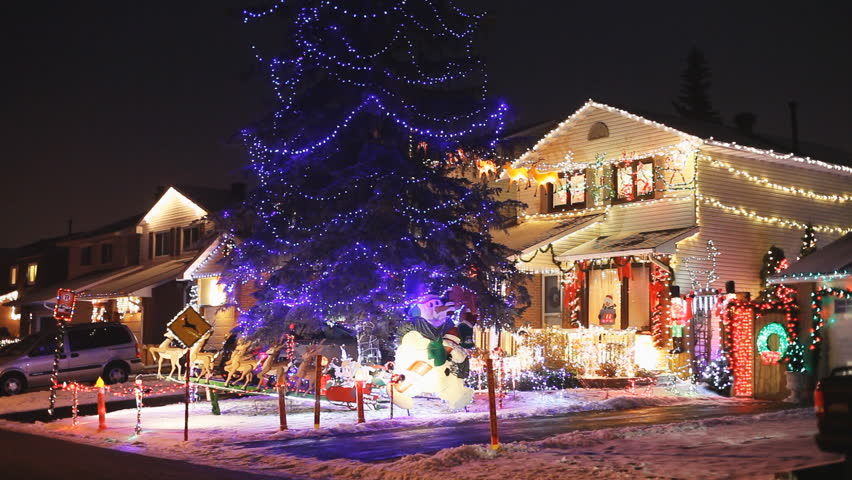 North american houses brightly light with christmas lights for American christmas decoration