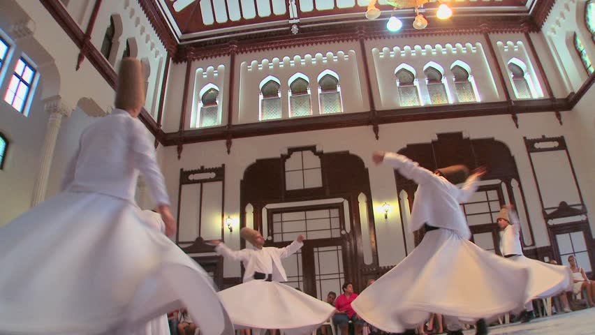 ISTANBUL, TURKEY 2012 Whirling dervishes perform a mystical dance in Istanbul, Turkey. - HD stock video clip
